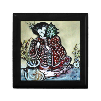 """""""Lovely Asian Lady with Leaf"""" Jewelry Box"""