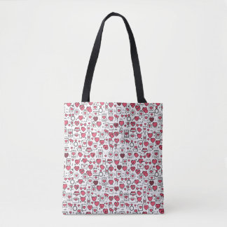 Lovely Assorted Hearts and Icons Tote Bag