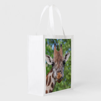 Lovely Attentive Giraffe Reusable Grocery Bag