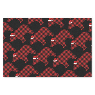 Lovely Bear Silhouette Christmas Holiday Pattern Tissue Paper