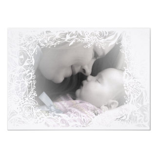 Lovely Birth Announcement Card with White Floral