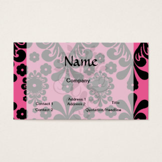lovely black damask on bright pink chic business card