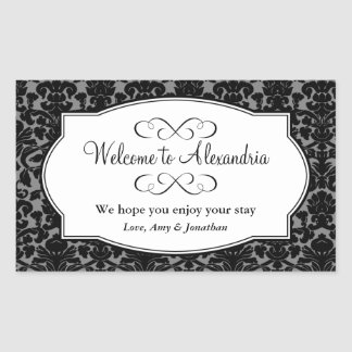 Lovely black damask pattern out of town gift bag sticker