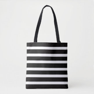 LOVELY BLACK & WHITE STRIPED TOTE BAG