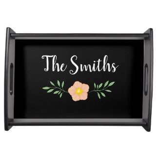 Lovely Black with floral laurel Serving Tray
