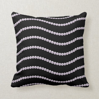 Lovely Black with Lavender Pearl Design Throw Pillow