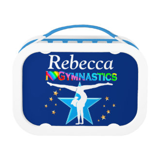 LOVELY BLUE GYMNAST GIRL PERSONALIZED LUNCH BOX