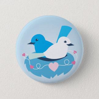 Lovely Blue love birds wren white 2 Inch Round Button
