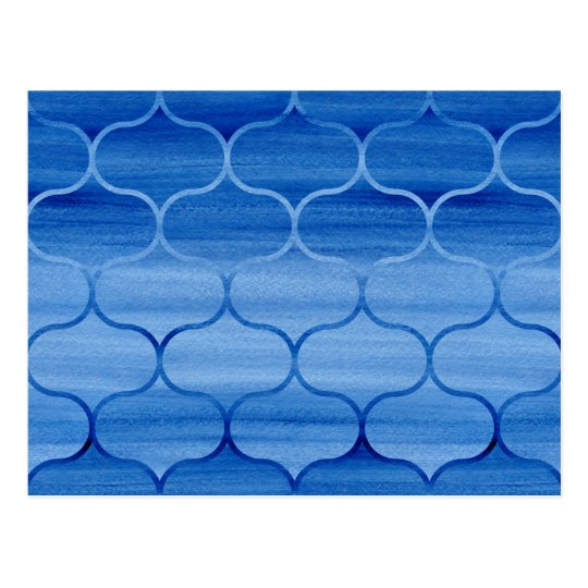 Lovely Blue Watercolor Ogee Pattern Postcard