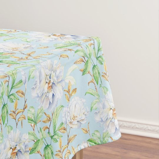 Lovely Blue & White Flowers with Leaves Tablecloth