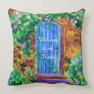 Lovely Blue Wooden Door to Secret Rose Garden Throw Pillow