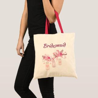 Lovely Bridesmaid Pink Mason Jars Tote Bag