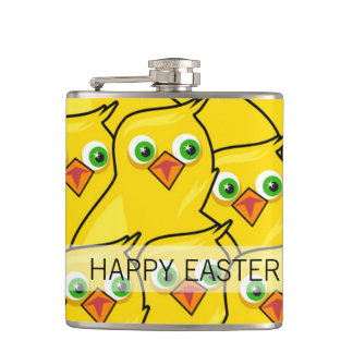 Lovely Bright Yellow Easter Chickens Hip Flask