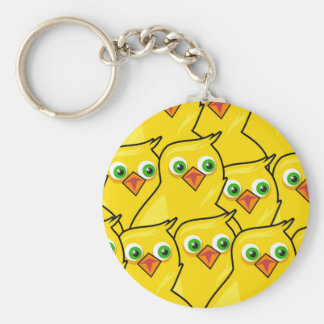 Lovely Bright Yellow Easter Chickens Keychain