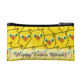 Lovely Bright Yellow Easter Chickens Makeup Bag