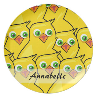 Lovely Bright Yellow Easter Chickens Plate