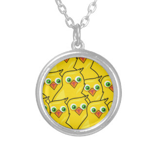 Lovely Bright Yellow Easter Chickens Silver Plated Necklace