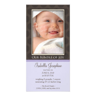 Lovely Bundle of Joy Birth Announcement :: lilac Customized Photo Card