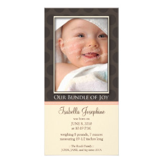 Lovely Bundle of Joy Birth Announcement :: peach Photo Card Template