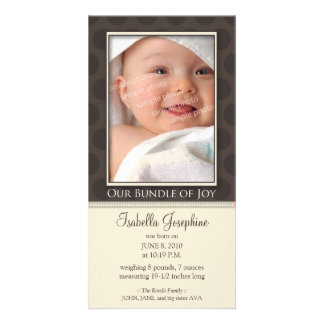 Lovely Bundle of Joy Birth Announcement :: taupe Customized Photo Card