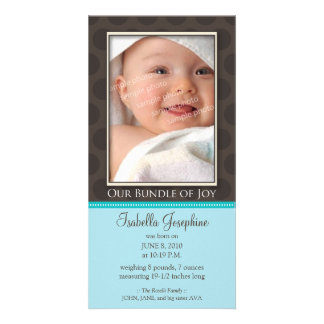 Lovely Bundle of Joy Birth Announcement :: teal Photo Card