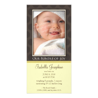 Lovely Bundle of Joy Birth Announcement :: yellow Photo Card Template
