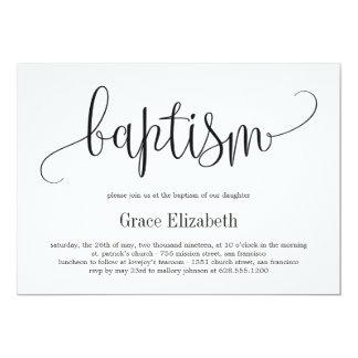 Lovely Calligraphy Baptism Invitation