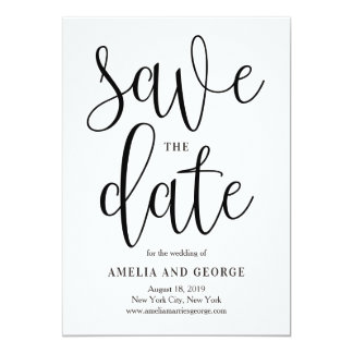 Lovely Calligraphy Save The Date Card