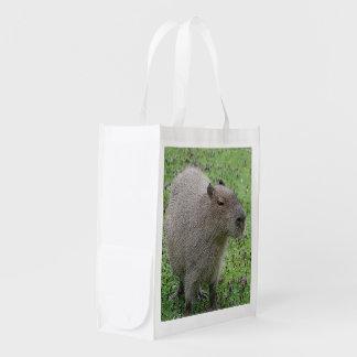 Lovely capybara reusable grocery bag