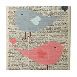 Lovely Cartoon Birds On Vintage Book Page Ceramic Tiles