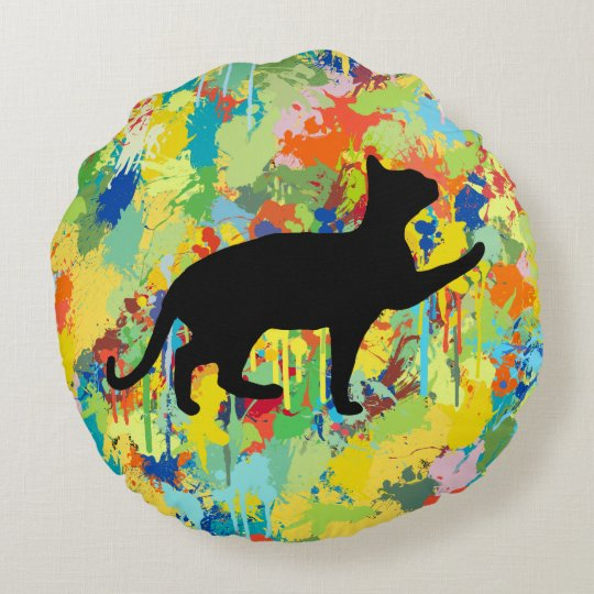 Lovely Cat Colourful Painting Splash Round Pillow