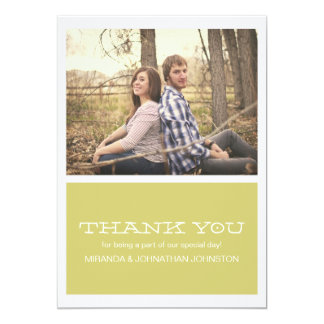 Lovely Chartreuse Photo Wedding Thank You Cards