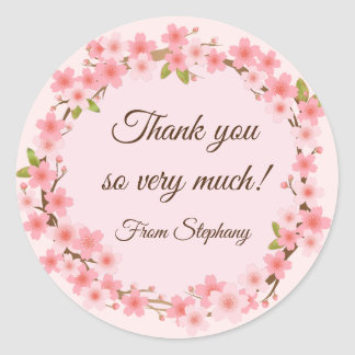 Lovely Cherry Blossoms Wreath Thank you Stickers