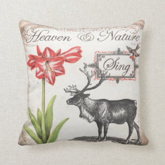 Lovely Christmas Reindeer, bird, Amaryllis pillow