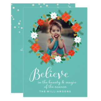 Lovely Christmas Wreath Believe in the Magic Photo Card
