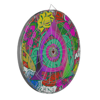 Lovely colorful Floral Monogrammed logo design Dartboard