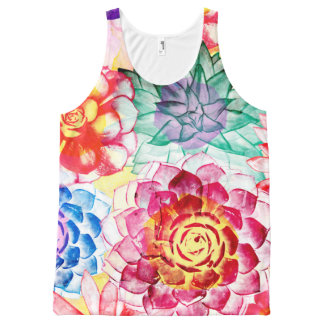 Lovely Colorful Succulent Plant Pattern All-Over-Print Tank Top