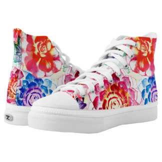 Lovely Colorful Succulent Plant Pattern High Tops