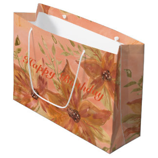 Lovely Coral Peach Watercolor Paper Products Large Gift Bag