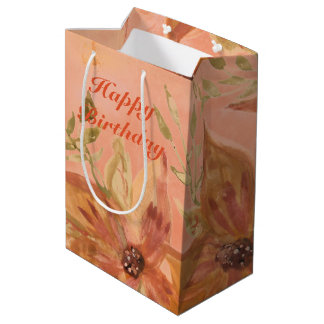 Lovely Coral Peach Watercolor Paper Products Medium Gift Bag