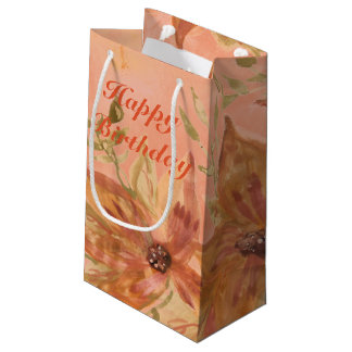 Lovely Coral Peach Watercolor Paper Products Small Gift Bag