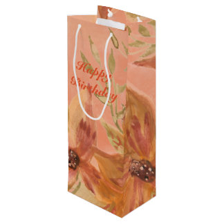 Lovely Coral Peach Watercolor Paper Products Wine Gift Bag