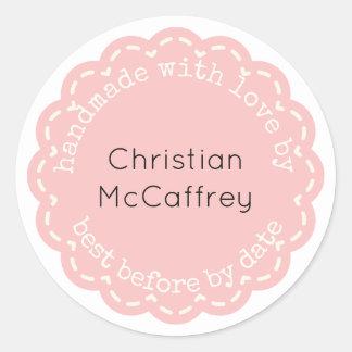 Lovely Coral Pink Rosette Handmade Custom Label
