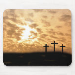 """Lovely Crosses and Sunset """"He is Risen"""" Mousepad"""