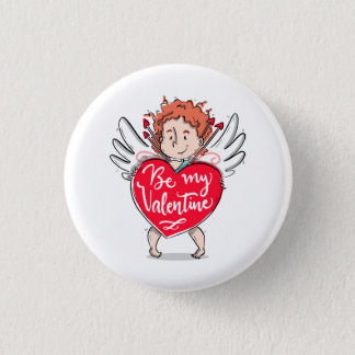 Lovely Cupid's Be My Valentine Pin Button