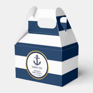 Lovely Custom Nautical Navy Blue Gold Baby Shower Favor Boxes