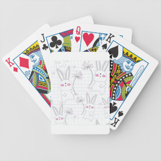 Lovely cute rabbit bunny blue grey pattern bicycle playing cards