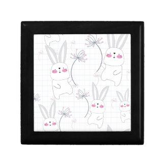 Lovely cute rabbit bunny blue grey pattern gift box