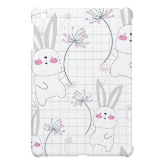 Lovely cute rabbit bunny blue grey pattern iPad mini cover
