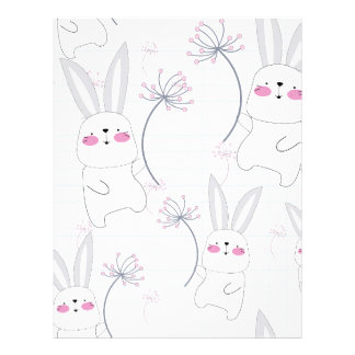Lovely cute rabbit bunny blue grey pattern letterhead